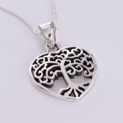 P707 - Heart Tree of life silver pendant