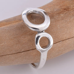 R137 Double circle silver ring