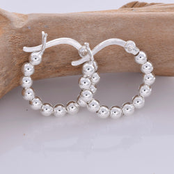 E595 - 18mm hoop bead silver earrings
