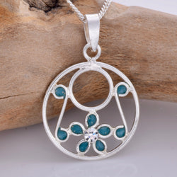 P676 - Blue disc and daisy pendant