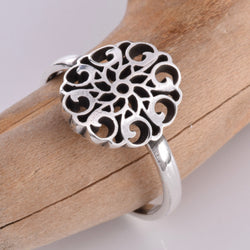 R139 - Silver Mandala design disc and band ring