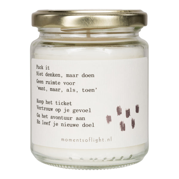 Moments of Fuck It scented candle in a jar