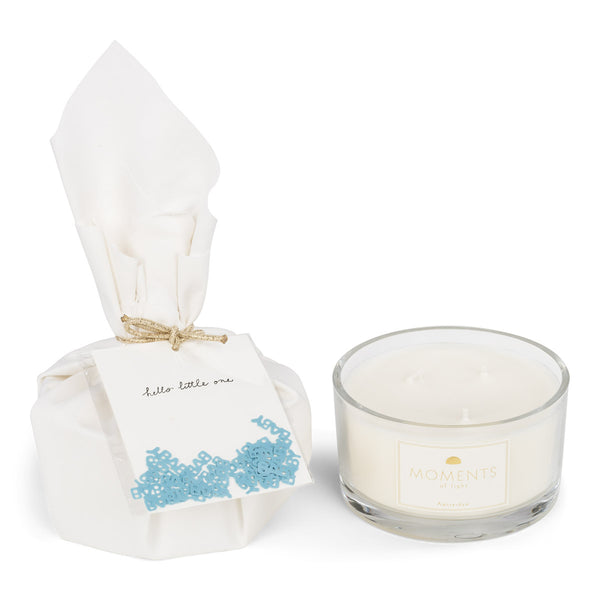 Big Gift Wrapped Birth Candle 'Hello Little One'