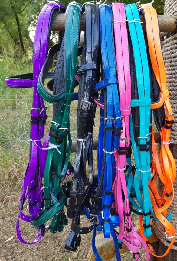 Bridle - Cob to Full size in PVC / Biothane in nine vibrant colors !