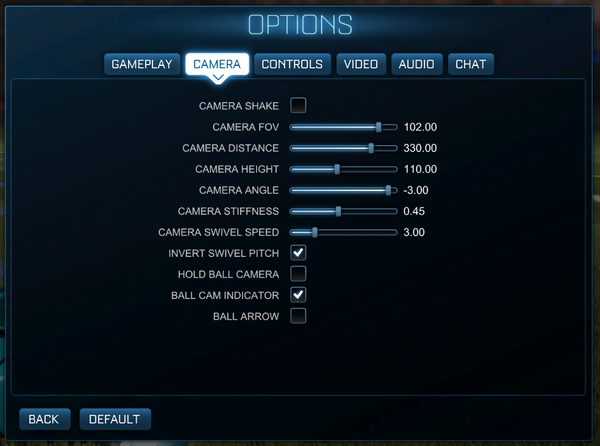 Rocket League options