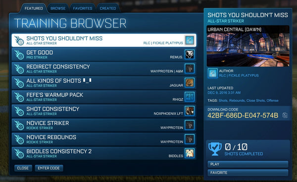 Rocket League training browser