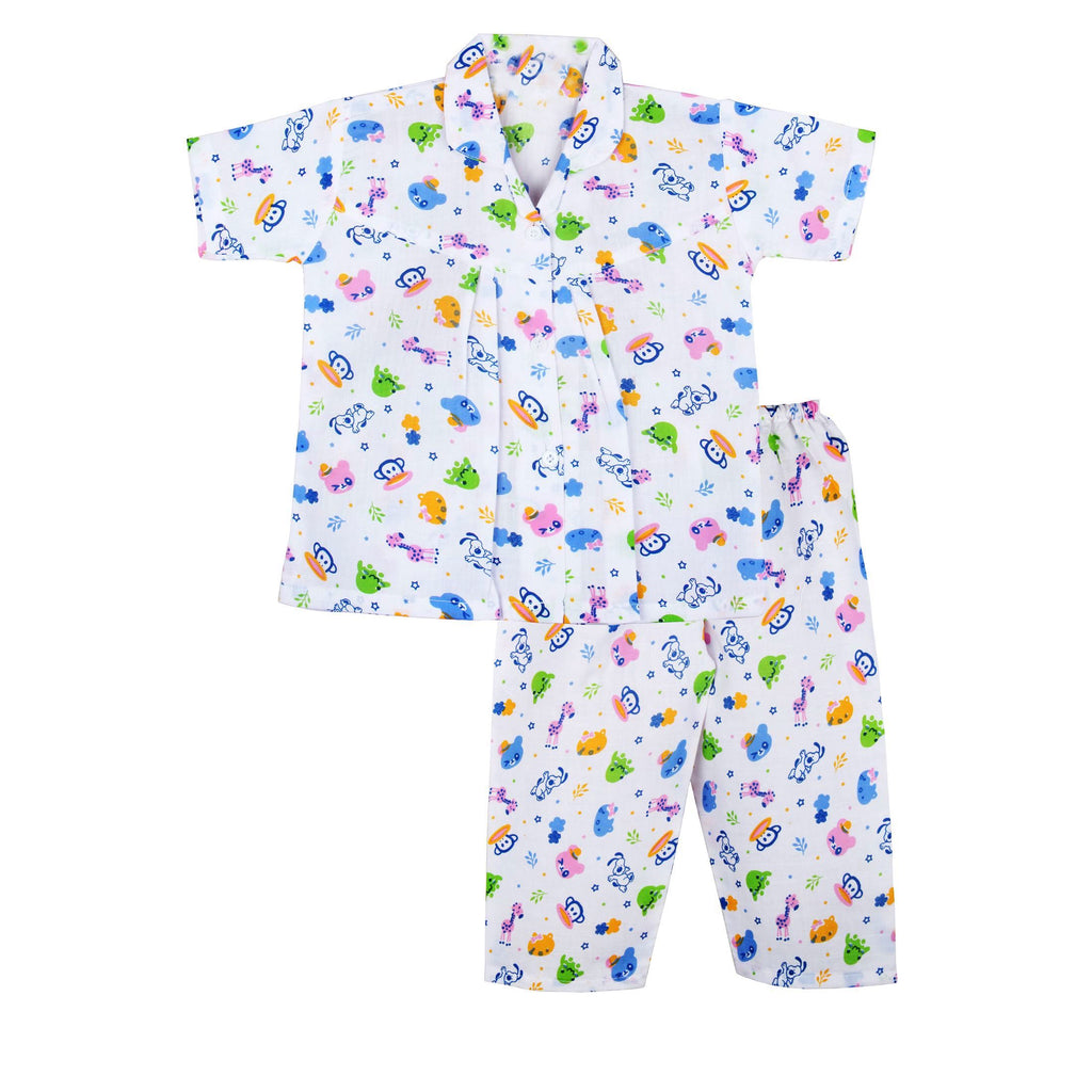 Zoo Safari Cotton Night Suit For Boys - Blue