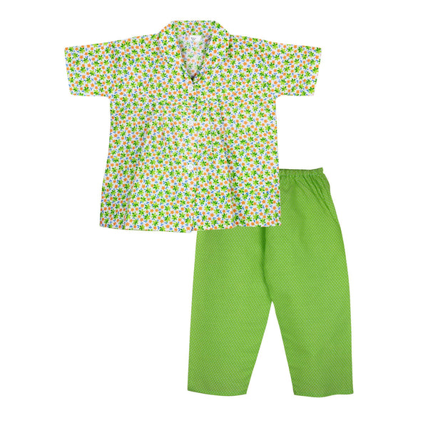 Flower print Cotton Night Suit for Girls - Green