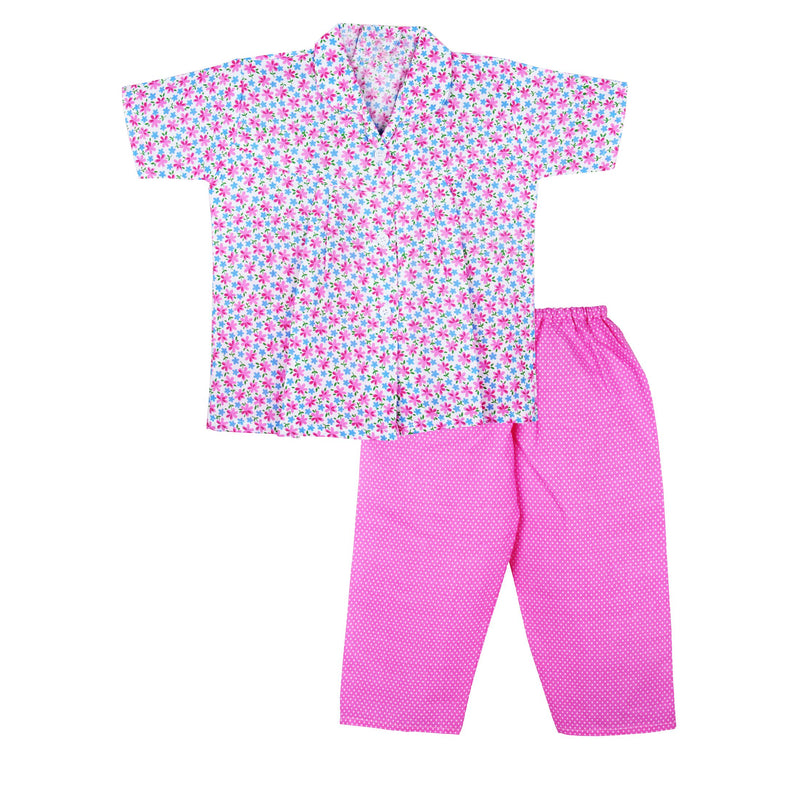 Flower print Cotton Night Suit for Girls - pink