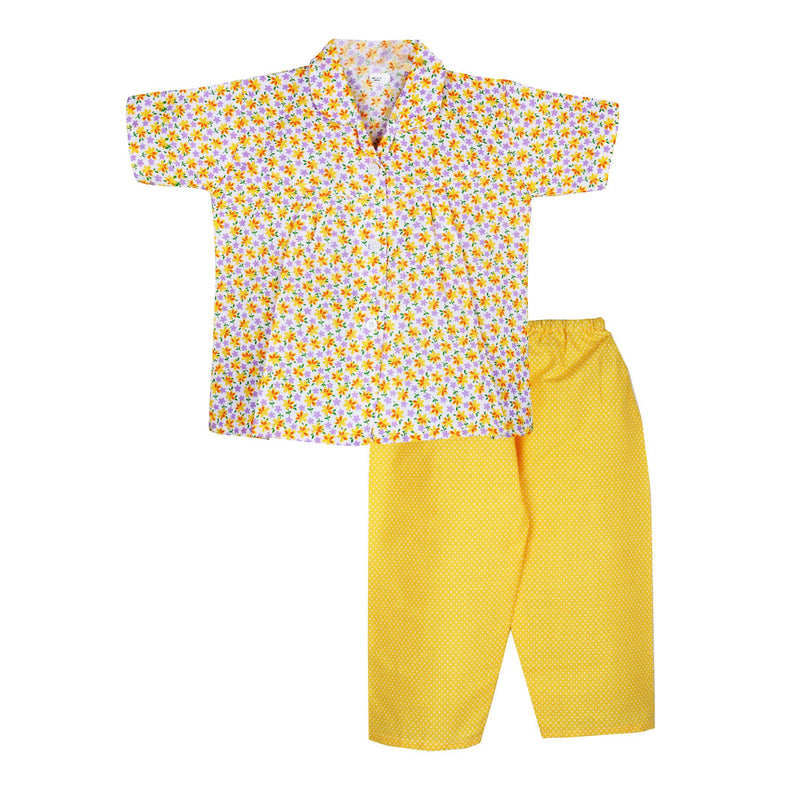 Flower print Cotton Night Suit for Girls - Yellow