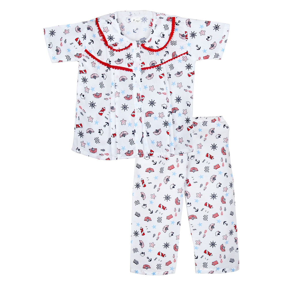 Boat print peter pan collar cotton night suit for Girls - Red - BownBee - Creating Special Moments