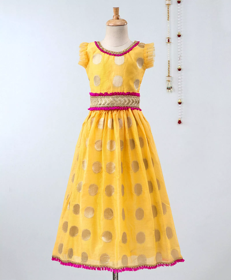 Chanderi Brocade Lehenga Choli For Girls-Yellow - BownBee - Creating Special Moments