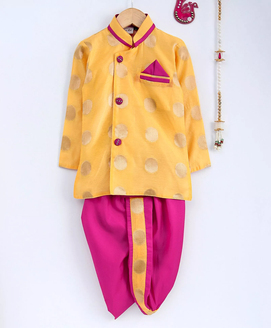 Chanderi Brocade Butti Work Full Sleeves Sherwani Style Kurta & Dhoti Set - Yellow - BownBee - Creating Special Moments