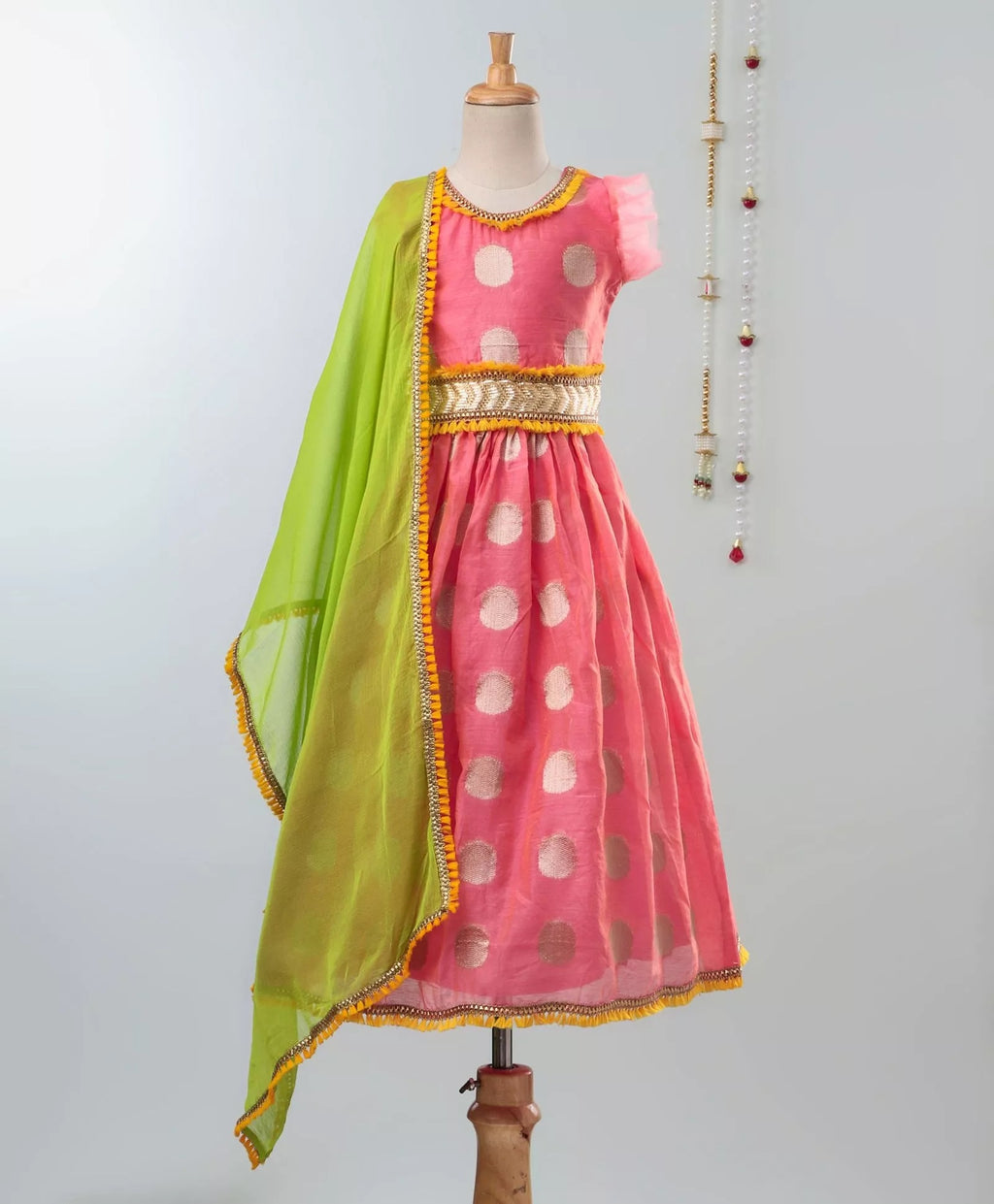 Chanderi Brocade Lehenga Choli For Girls-Pink - BownBee - Creating Special Moments