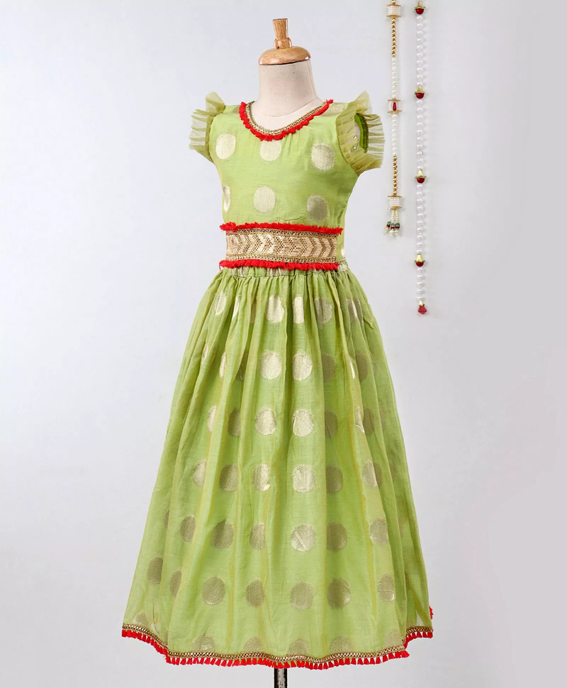 Chanderi Brocade Lehenga Choli For Girls-Green - BownBee - Creating Special Moments