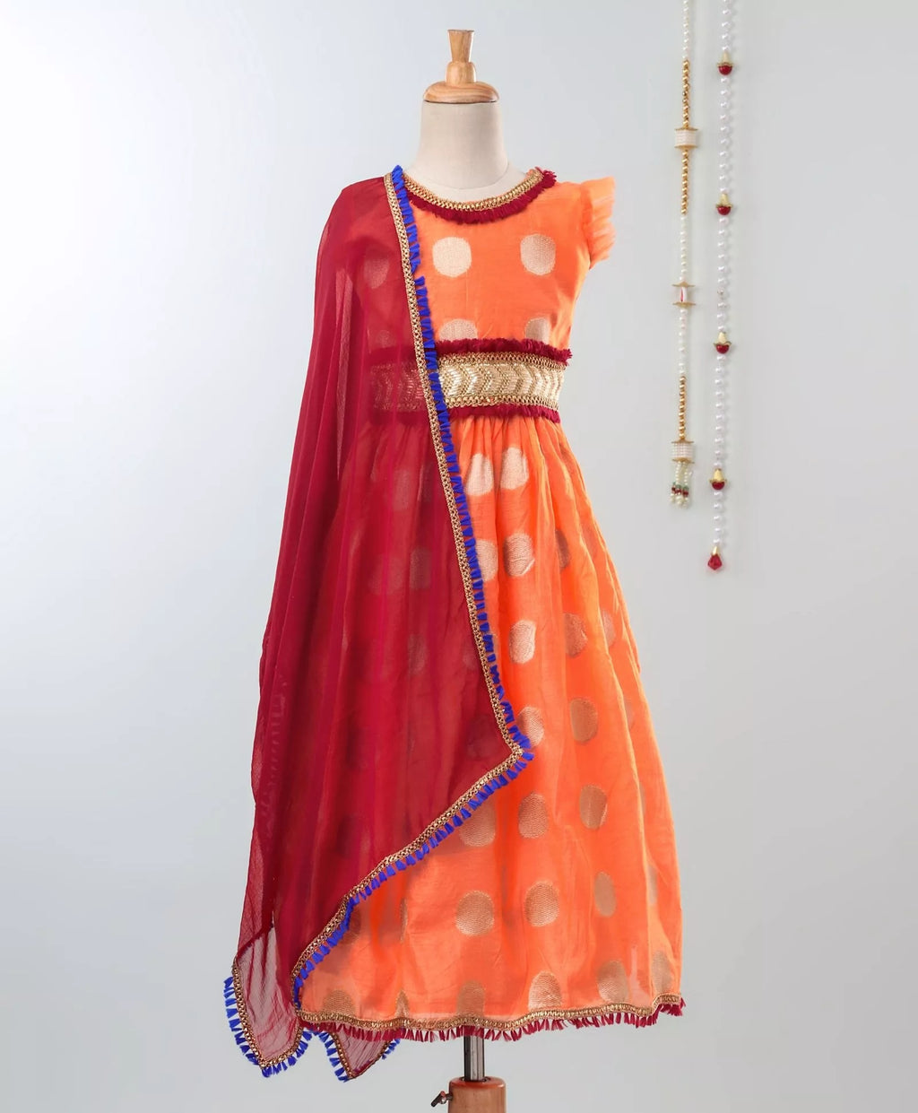 Chanderi Brocade Lehenga Choli For Girls-Orange - BownBee - Creating Special Moments
