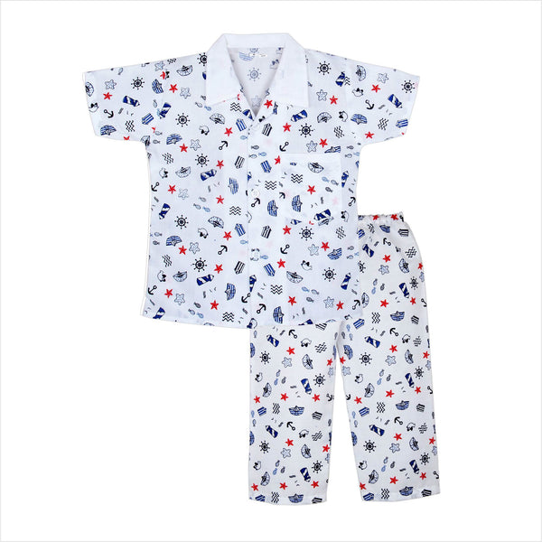 Boat print cotton night suit for Boys - blue