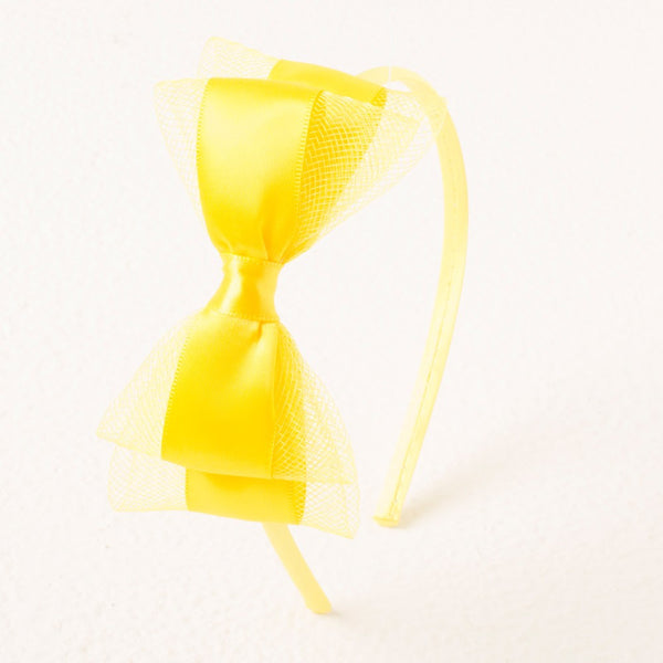 Pretty Bow Headband - Neon Yellow