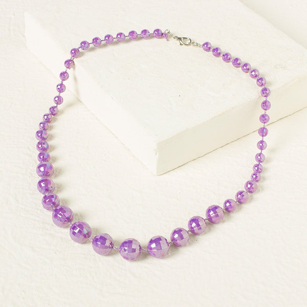 Beads Necklace - Purple
