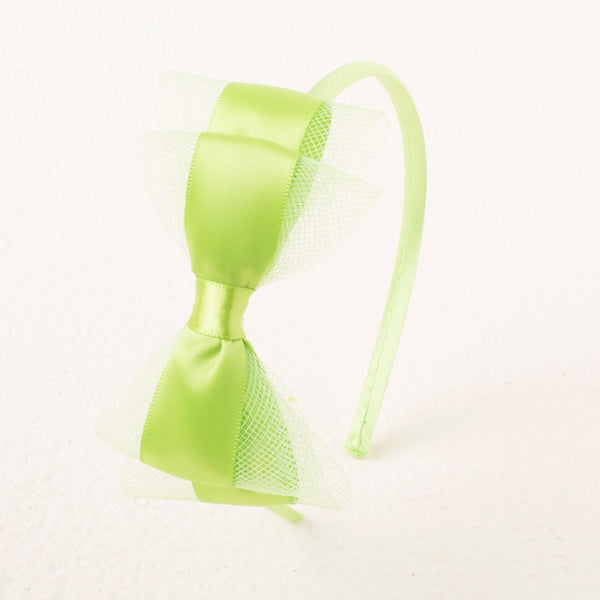 Pretty Bow Headband - Neon Green