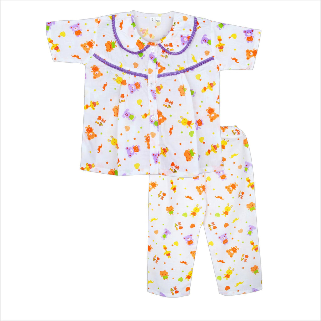 Frog print Cotton night Suit for Girls -Purple