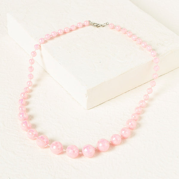 Beads Necklace - Baby Pink