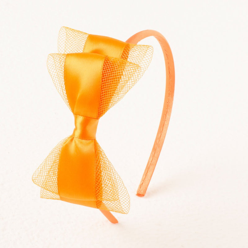 Pretty Bow Headband - Neon Orange