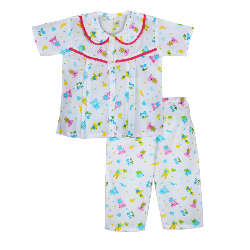 Frog print Cotton night Suit for Girls - Pink