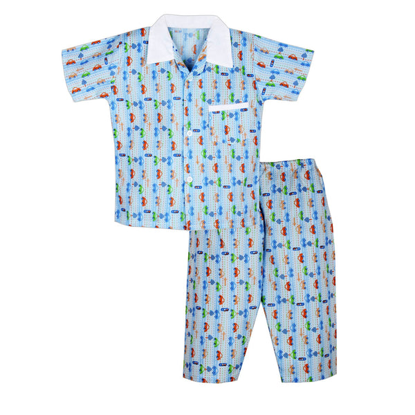 Car Print Cotton Night suit for Boys - Blue