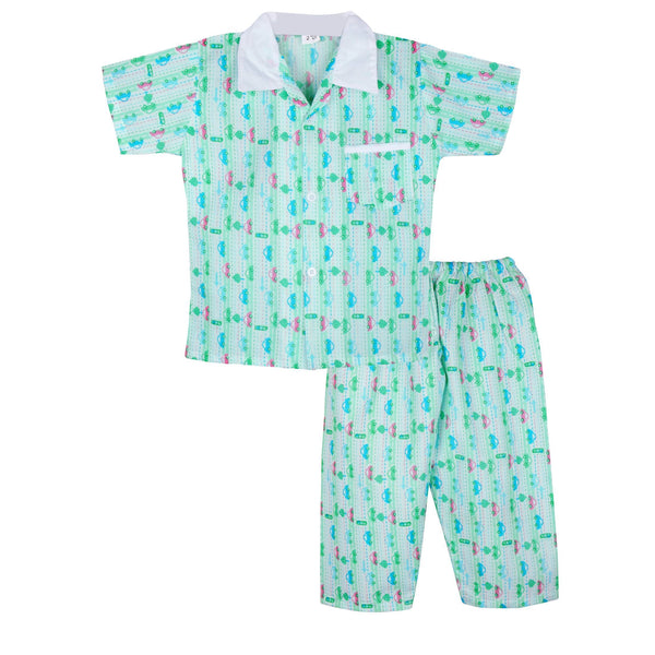 Car Print Cotton Night suit for Boys - Green