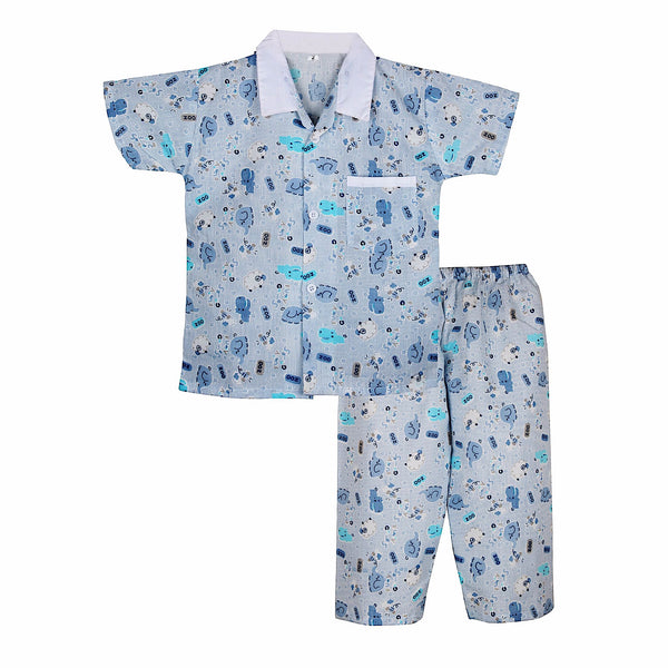 Elephant Print Cotton Night suit for Boys - Pastel Blue