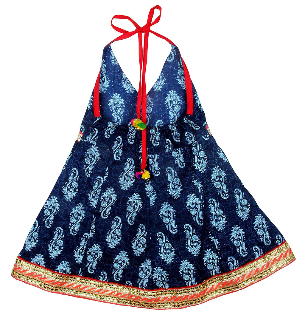 Jaipuri Print Cambric Cotton Halter Neck frocks for Baby Girl - Indigo