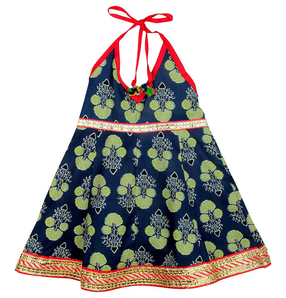 Jaipuri Marigold Print Cambric Cotton Halter Neck frocks for Baby Girl - Indigo