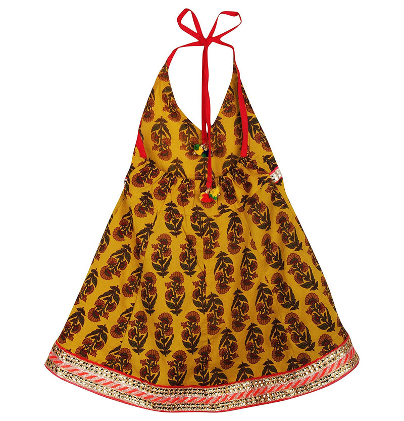 Jaipuri Boota Print Cambric Cotton Halter Neck frocks for Baby Girl - Yellow