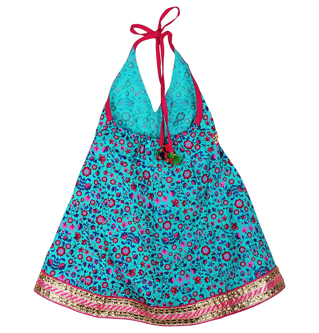 Jaipuri Floral Print Cambric Cotton Halter Neck frocks for Baby Girl - Green