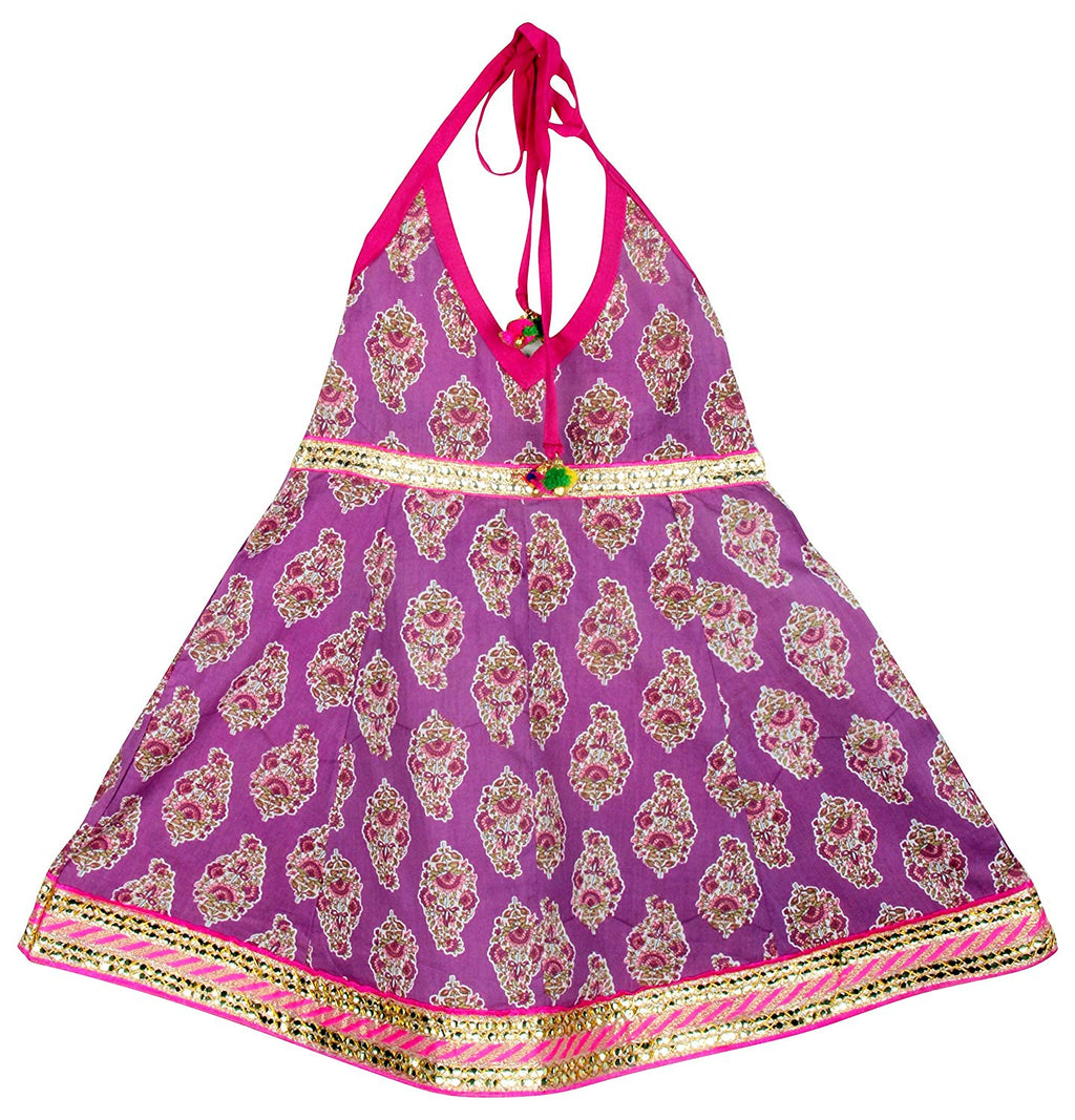 Jaipuri Boota Print Cambric Cotton Halter Neck frocks for Baby Girl - Purple