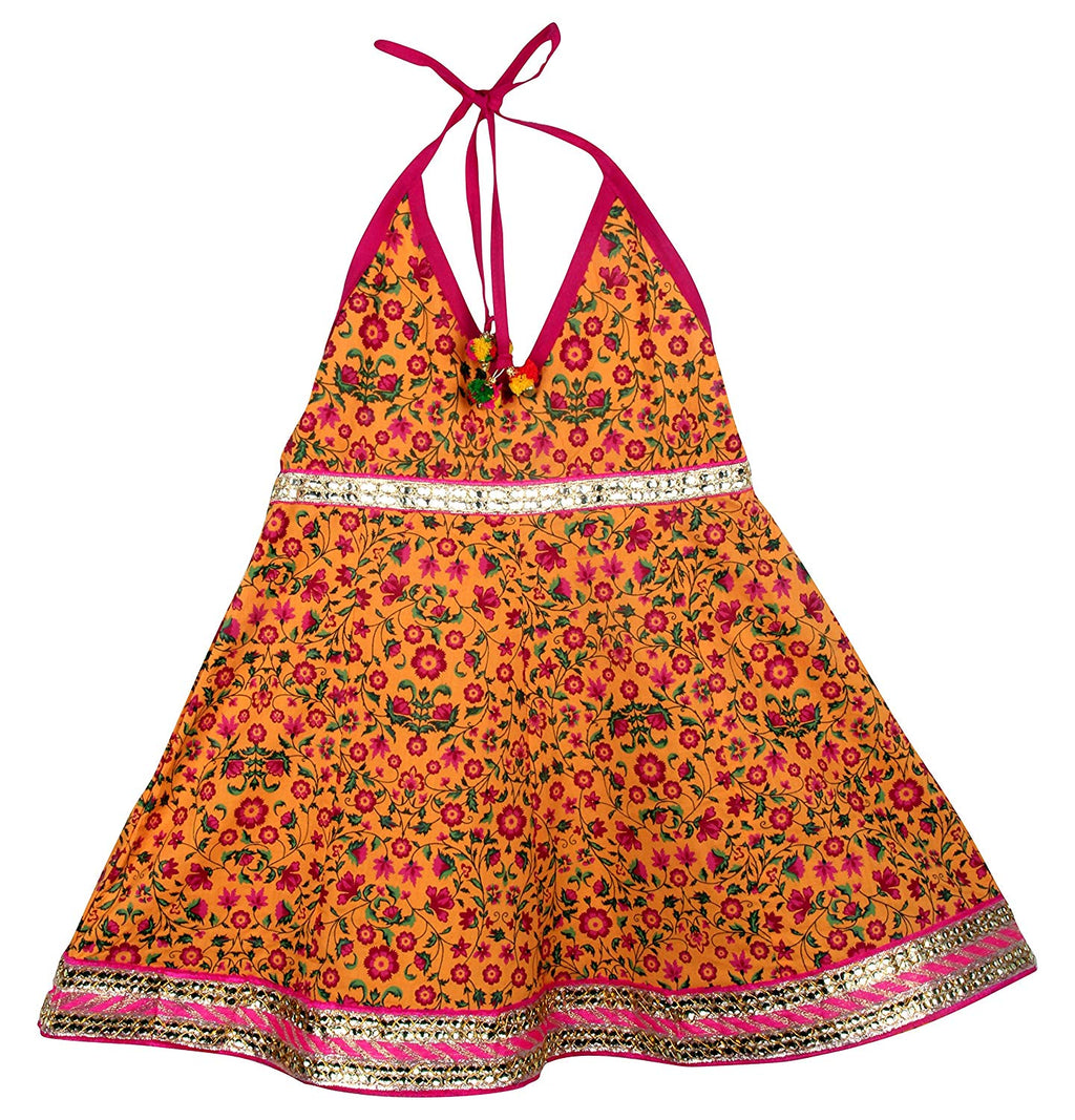 Jaipuri Floral Print Cambric Cotton Halter Neck frocks for Baby Girl - Yellow