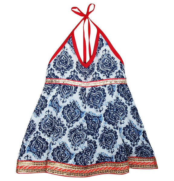 Jaipuri Boota Print Cambric Cotton Halter Neck frocks for Baby Girl - Indigo