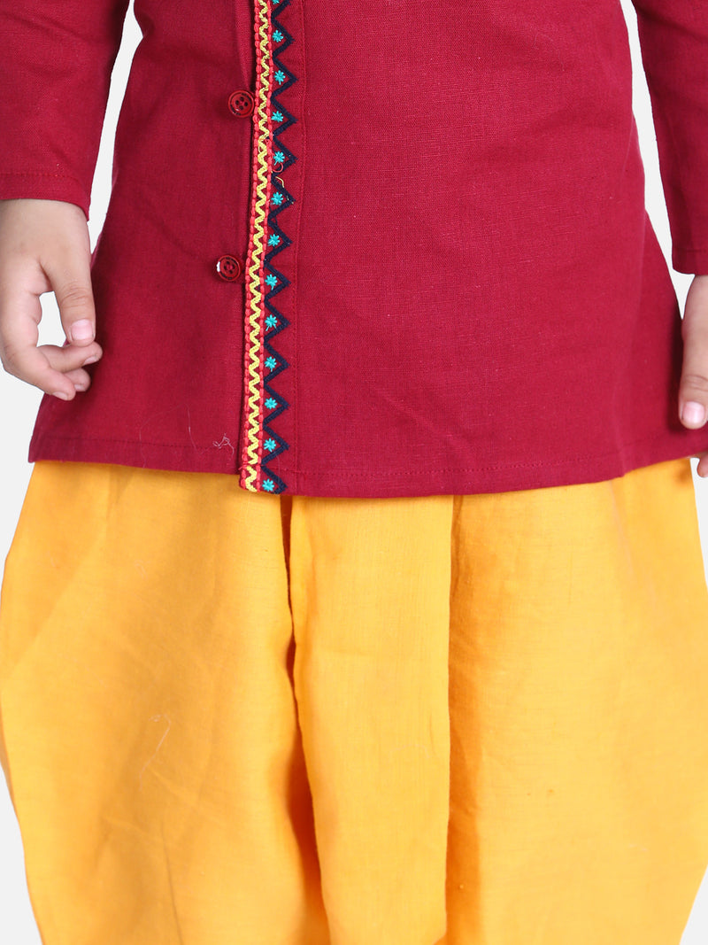 Front Open Embroidered Kurta Dhoti for Boys- Maroon