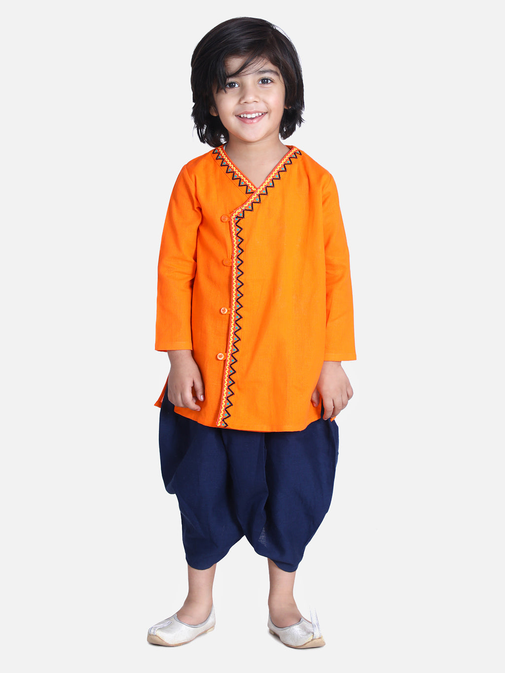 Front Open Embroidered Kurta Dhoti for Boys-Orange