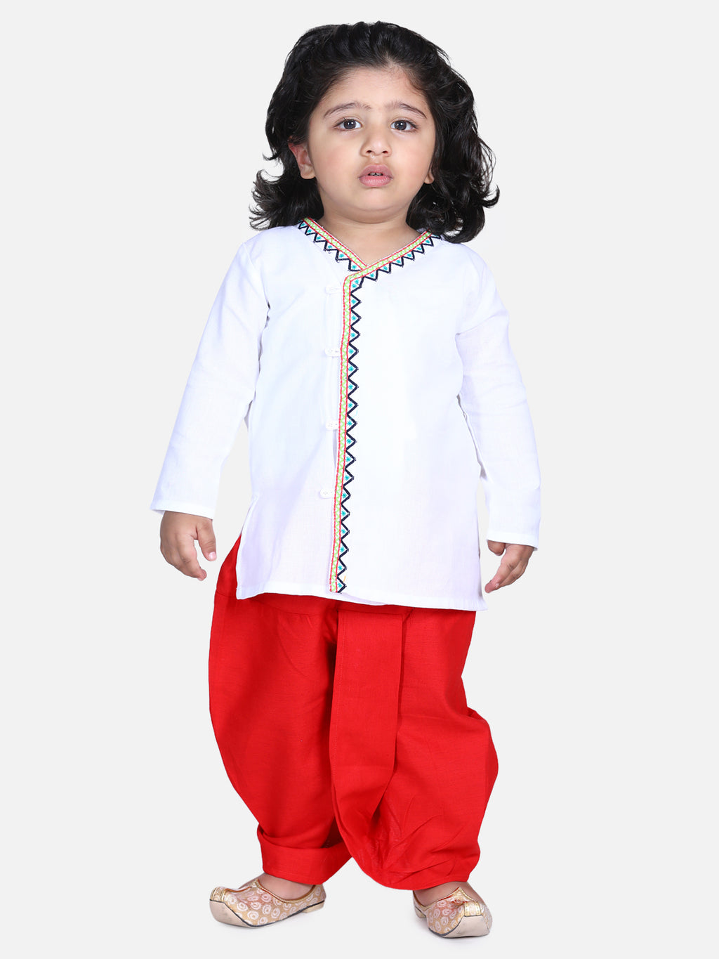 Front Open Embroidered Kurta Dhoti for Boys-White