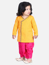 Front Open Embroidered Kurta Dhoti for Boys- Yellow