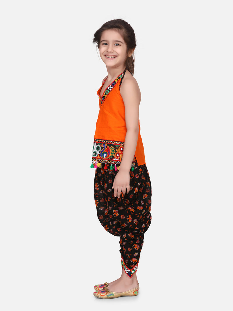 Halter Neck Cotton Top With Dhoti- Black