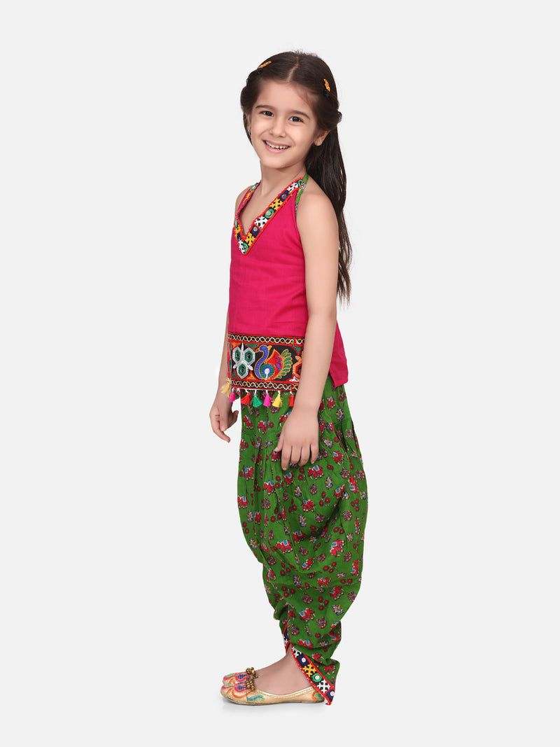 Halter Neck Cotton Top With Dhoti- Green