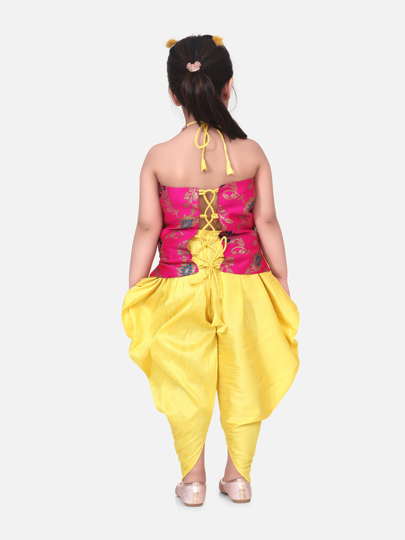 Jacquard Halter Neck Top With Dhoti-Pink