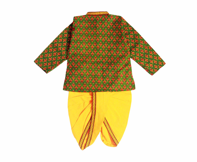 Cotton Kurta Dhoti in Sanganeri Print - Green - BownBee - Creating Special Moments