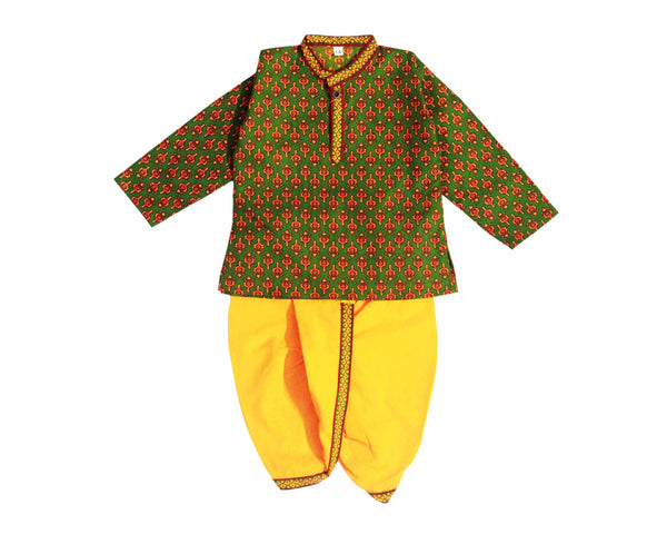Cotton Kurta Dhoti in Sanganeri Print - Green