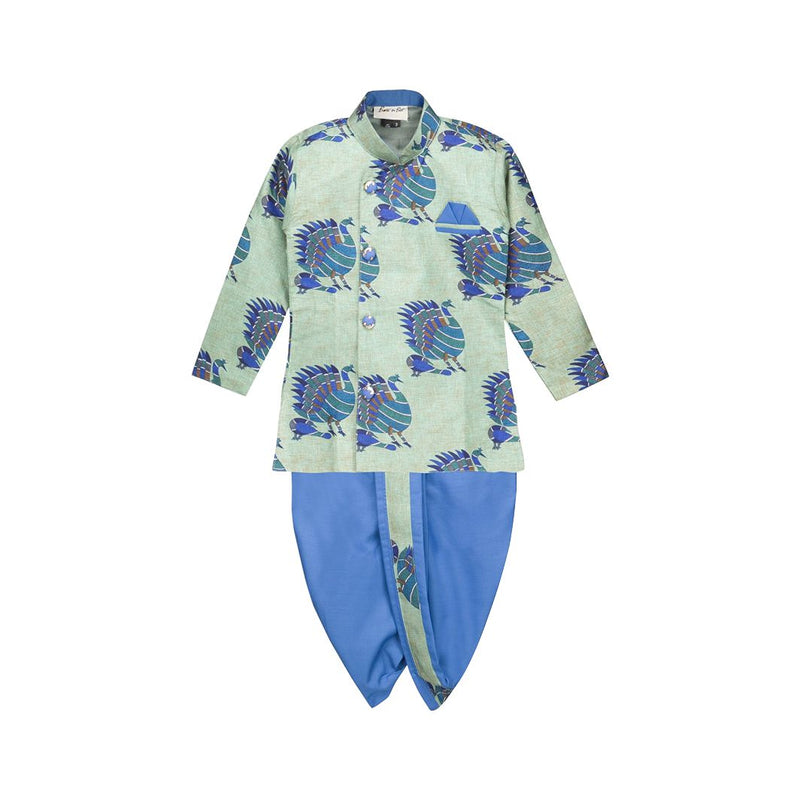 BownBee Boys Dhoti kurta Ethnic wear Sherwani for Boys - Light Blue - BownBee - Creating Special Moments