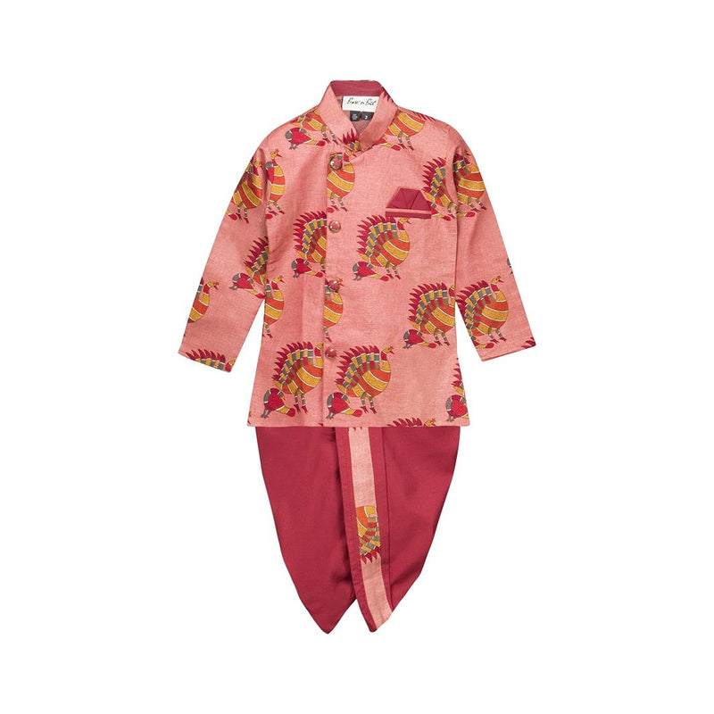 BownBee Boys Dhoti kurta Ethnic wear Sherwani for Boys - Maroon - BownBee - Creating Special Moments