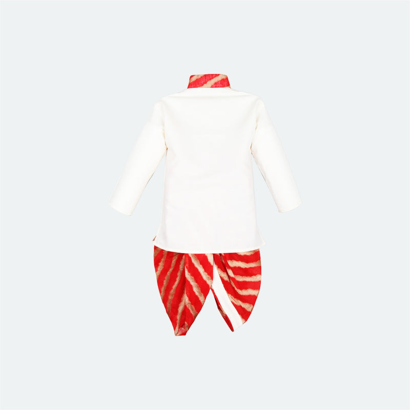 Bownbee Lehriya Dhoti Kurta For Boys - White & Red - BownBee - Creating Special Moments